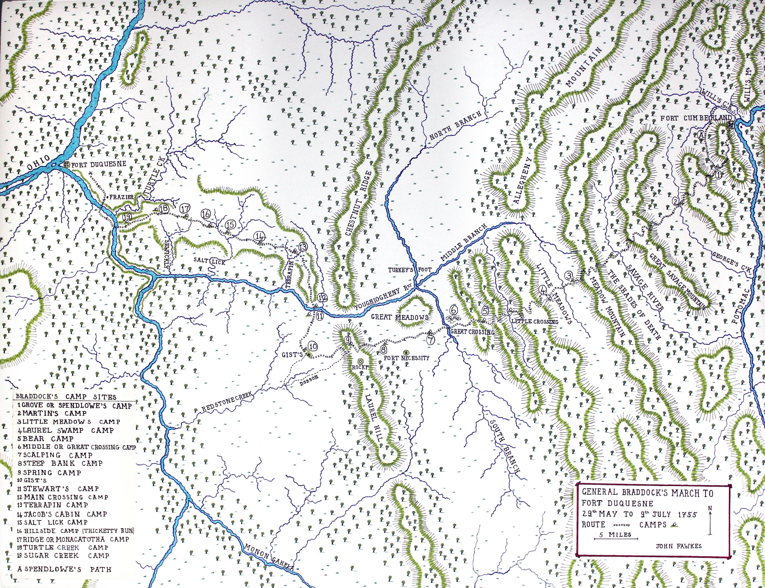 Map of General Braddock's march from Fort Cumberland to Terrapin Camp on his way to Fort Duquesne on the Monongahela River, May to July 1755, showing A Spendlow's Path and camps at 1 Grove 2 Martin's 3 Little Meadows 4 Laurel 5 Bear 6 Great Crossing 7 Scalping 8 Steep Bank 9 Spring 10 Gist's 11 Stewart's 12 Main Crossing 13 Terrapin 14 Jacob's 15 Salt Lick 16 Hillside 17 Ride 18 Turtle 19 Sugar: Map by John Fawkes