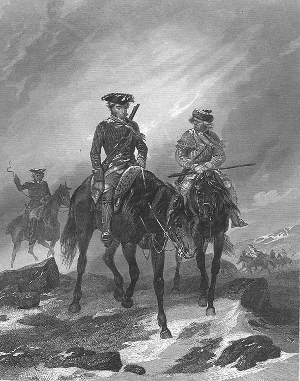 George Washington and Christopher Gist on their mission from Dinwiddie to the French at Fort le Boeuf in 1753: click here to buy this picture