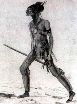 An Indian warrior holding a scalp
