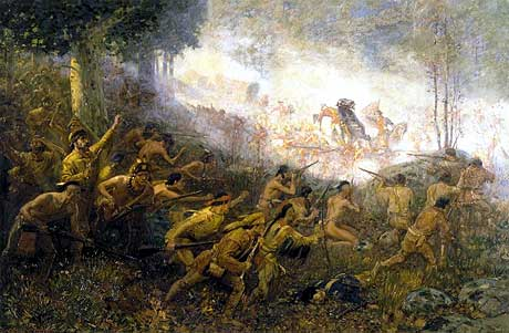 The French & Indians launch their attack on the British & American troops; Braddock falls shot while George Washington attempts to assist him: Battle on the Monongahela 9th July 1755: click here to buy this picture