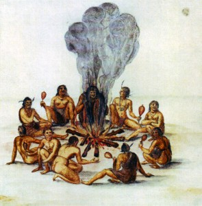 Native Americans around fire