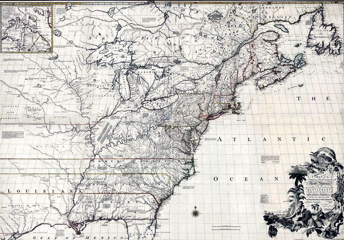 Map of North East America in 1755