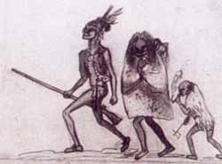 Ottawa warrior with his family sketched by Brigadier George Townshend