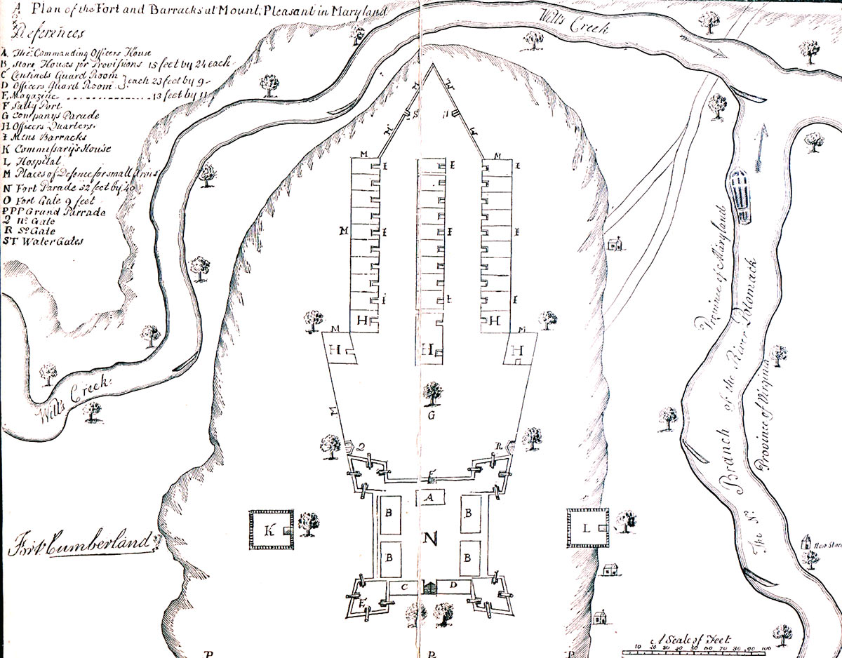 Plan of Fort Cumberland in 1755