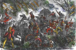 General Braddock's troops ambushed by the French and Indians