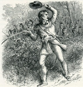 Beaujeu leads the first assault on General Braddock's column before being shot dead