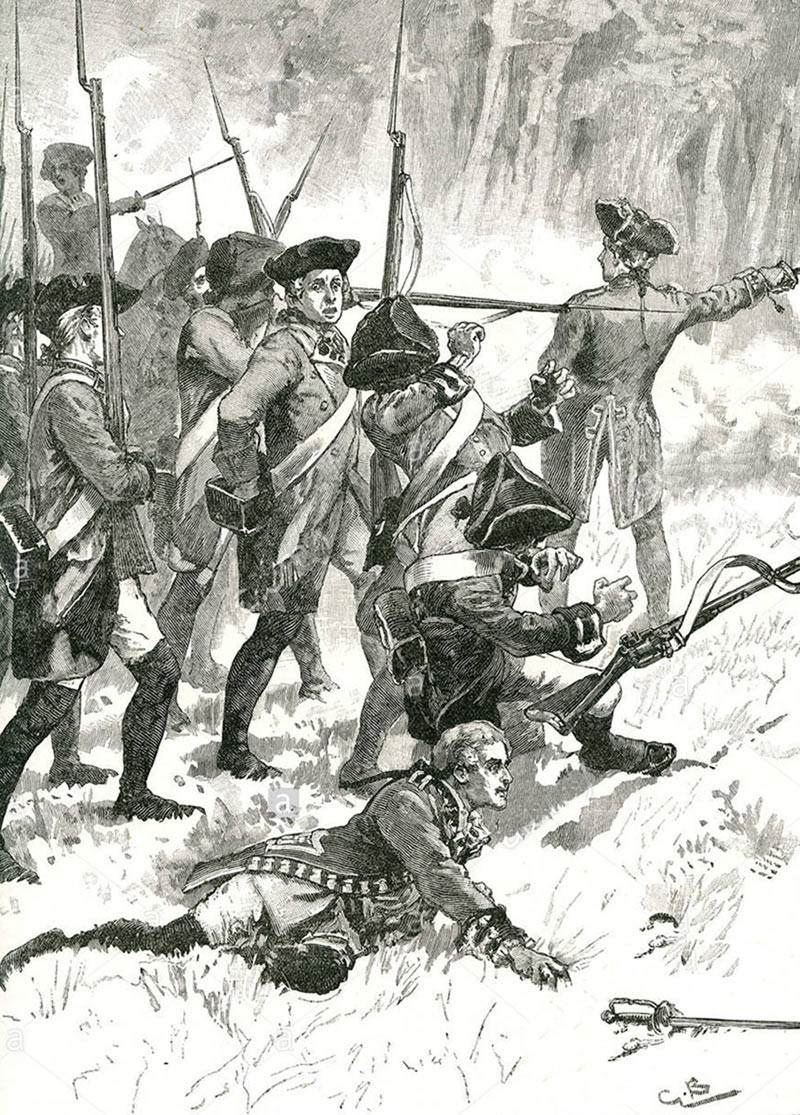 General Braddock's army at the Battle on the River Monongahelaon 9th July 1755 : click here to buy this picture