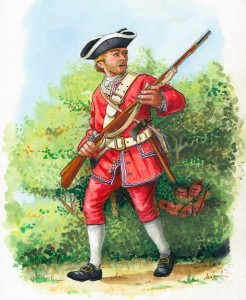 A soldier of the 48th Foot on the march to Fort DuQuesne in Western Pennsylvania. The British soldiers left their uniform coats in Alexandria and marched in their waistcoats. (Illustration by Mark Dennis of Petaluma and St Andrews).