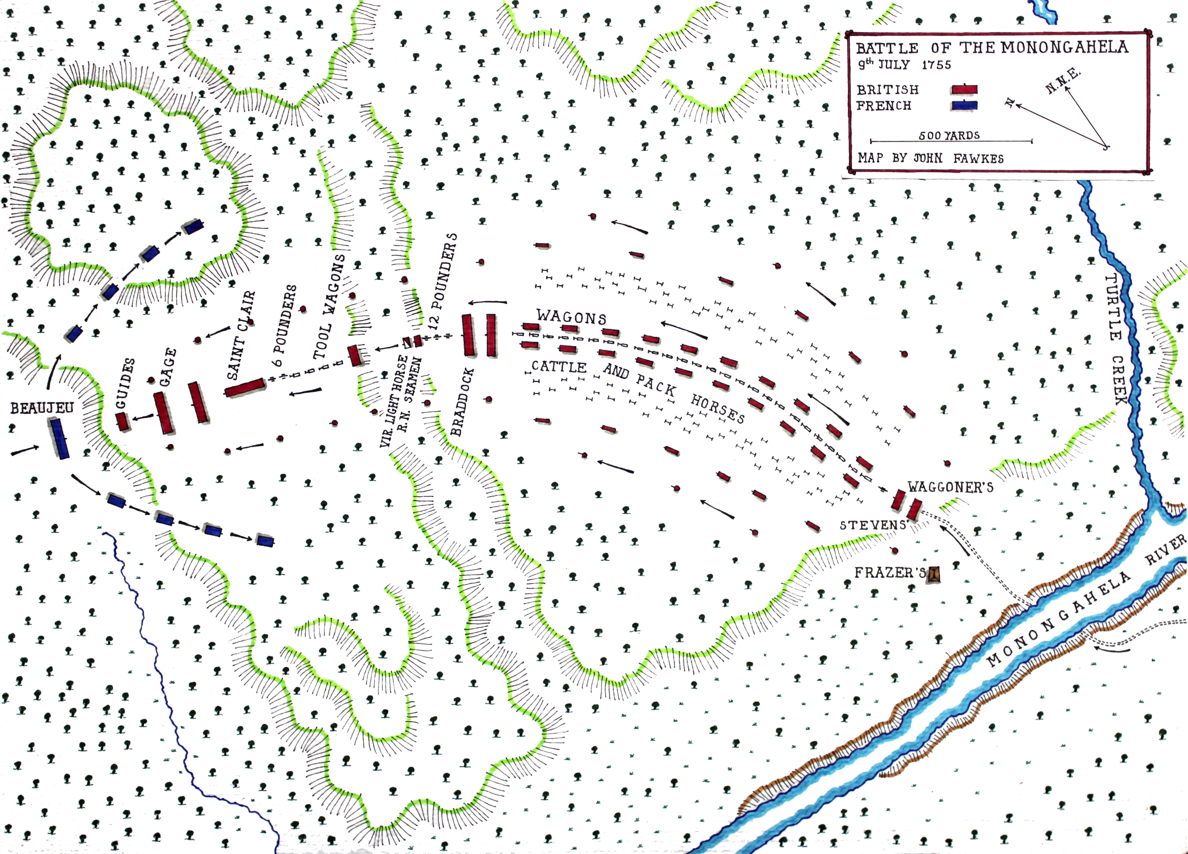 Map of the Battle of the Monongahela 9th July 1755 by John Fawkes