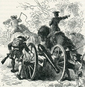 Bringing forward a 6 pounder field gun during the march to Fort DuQuesne