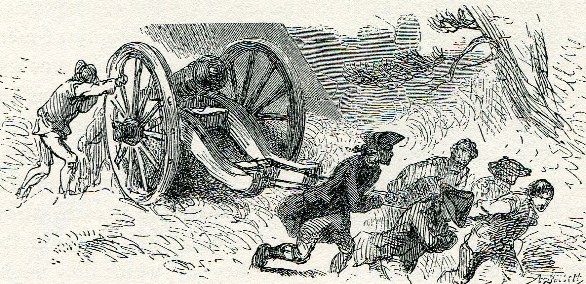 British and American troops dragging a 6 pounder field gun in General Braddock's advance to the Monongahela in 1755