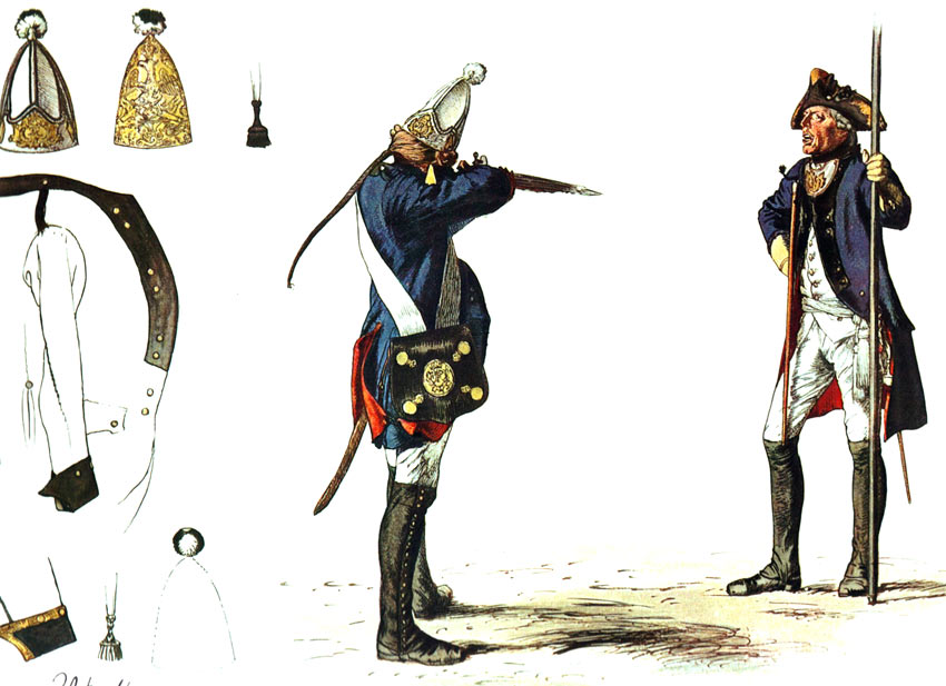 Prussian Grenadier Battalion von Rath No 5: picture by Adolph Menzel as part of his series of pictures 'Die Armee Friedrichs des Grossen in ihrer Uniformierung'