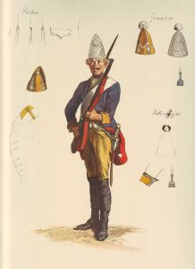 Prussian Füsilier-Regiment Jung- Braunschweig No 39: picture by Adolph Menzel as part of his series of pictures 'Die Armee Friedrichs des Grossen in ihrer Uniformierung'