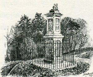 The Grenvill Memorial: the Battle of Lansdown Hill on 5th July 1643 during the English Civil War: sketch by C.R.B. Barrett