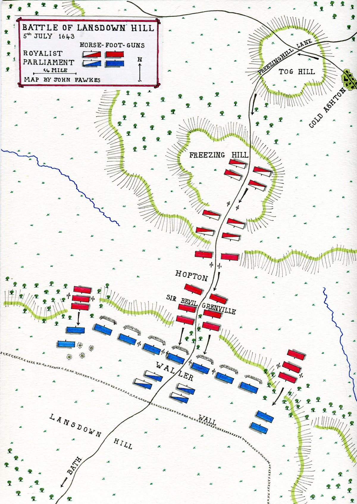 Map of the Battle of Lansdown Hill on 5th July 1643 in the English Civil War: map by John Fawkes