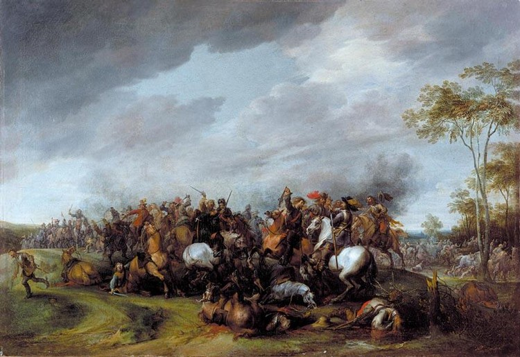 Cavalry action at the time of the English Civil War: Battle of Roundway Down on 13th July 1643 during the English Civil War: picture by Peter Sneyers