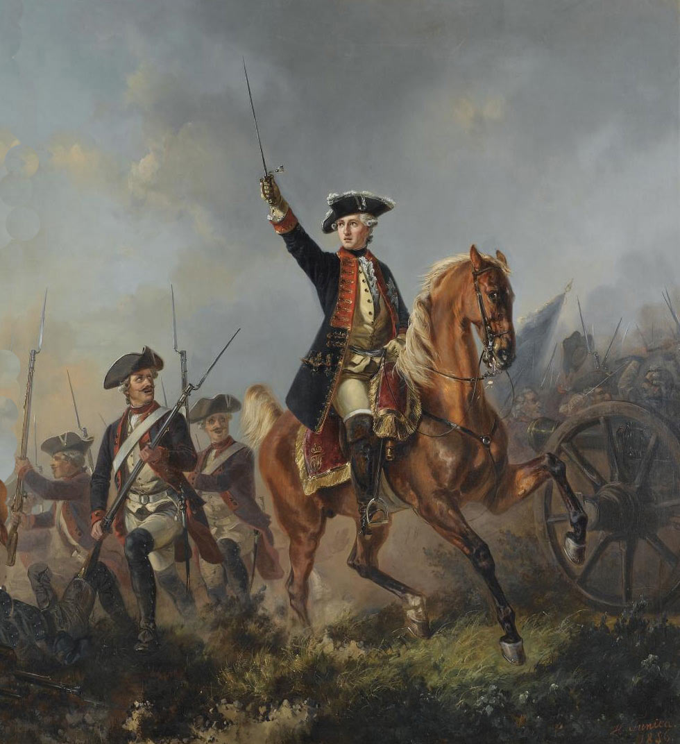 Frederick the Great leading his Prussian troops