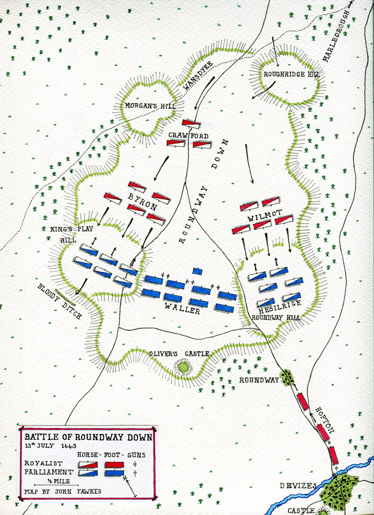 Map of Battle of Roundway Down fought on 13th July 1643 during the English Civil War: map by John Fawkes