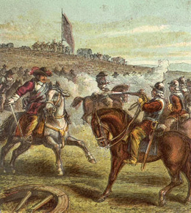 Lord Wilmot's horse (left) attacks Sir Arthur Hesilrige's 'Lobsters' (right) at the Battle of Roundway Down on 13th July 1643 during the English Civil War