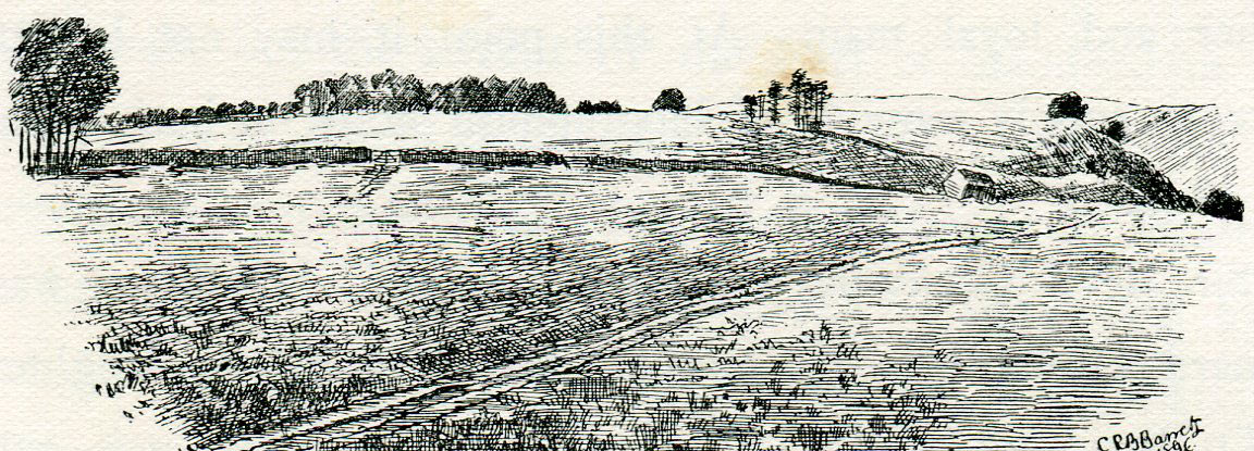 Top of Lansdown Hill from behind the Parliamentary position at the Battle of Lansdown Hill on 5th July 1643 during the English Civil War: sketch by C.R.B. Barrett