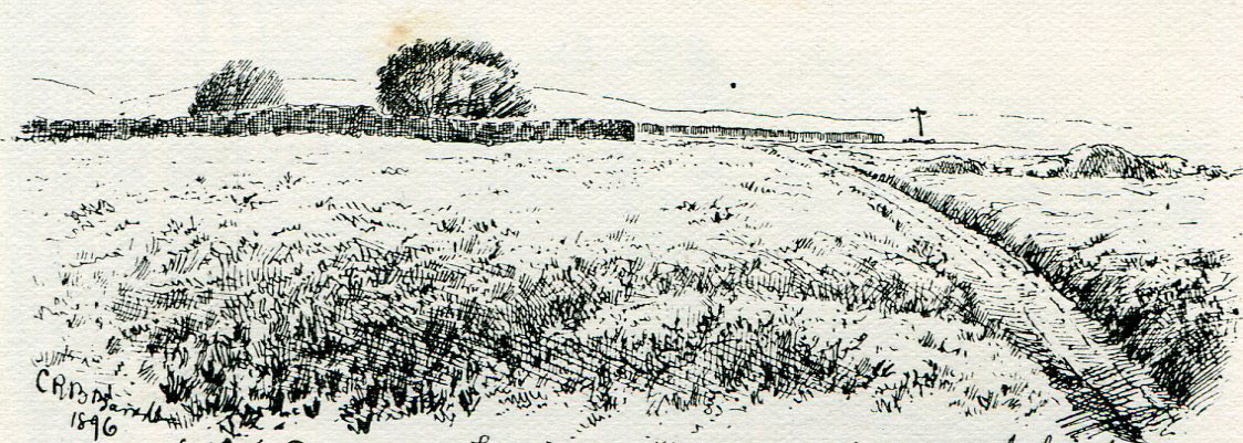 Top of Lansdown Hill from the Royalist advance at the Battle of Lansdown Hill on 5th July 1643 during the English Civil War: sketch by C.R.B. Barrett