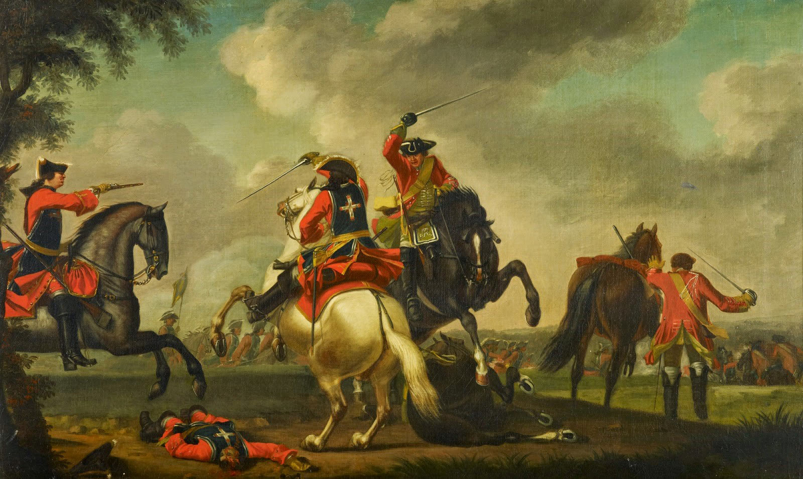 British and French cavalry in combat at the Battle of Warburg on 31st July 1760