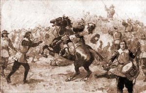 Battle of Lansdown Hill on 5th July 1643 showing the death of Sir Bevil Grenvile