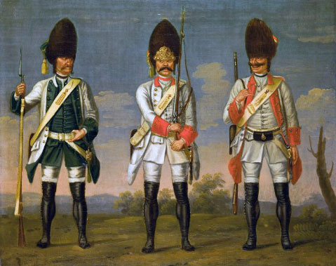 Grenadiers of the Austrian infantry regiments 'Los Rios', 'Waldeck' and 'Wurmbrand': picture by David Morier