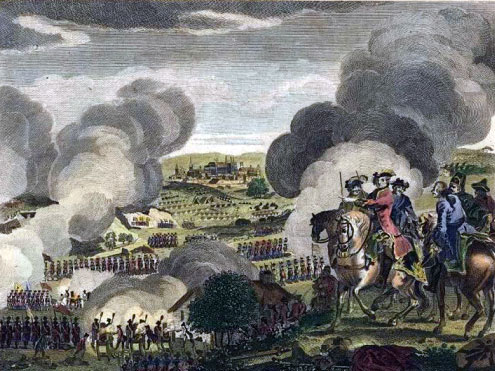 A contemporary image of the Battle of Prague on 6th May 1757