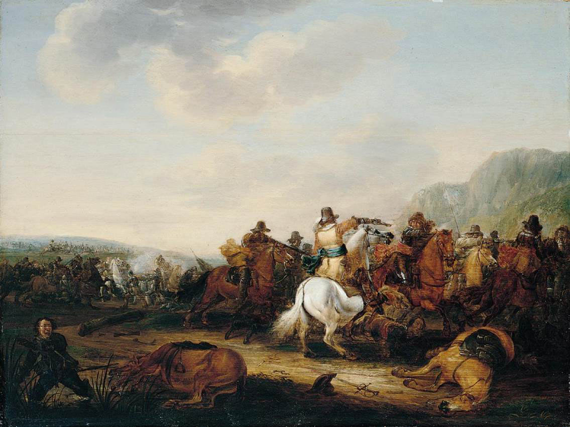 Cavalry action at the time of the English Civil War: Battle of Roundway Down on 13th July 1643 during the English Civil War