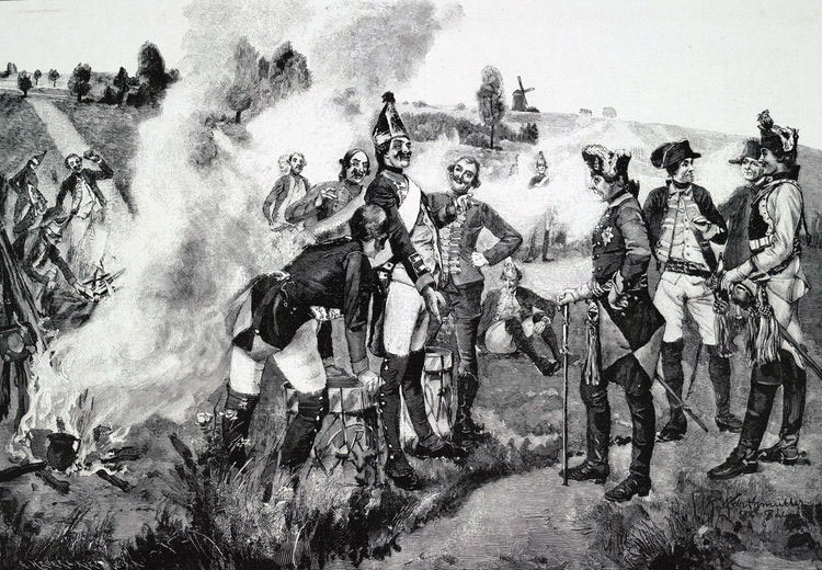King Frederick II of Prussia speaks to his soldiers after the Battle of Rossbach