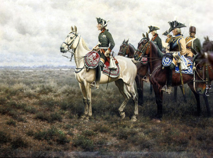 Frederick the Great and his staff at the Battle of Leuthen