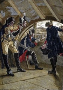 King Frederick II of Prussia watches the advancing enemy from the attic of the inn in Rossbach at the Battle of Rossbach