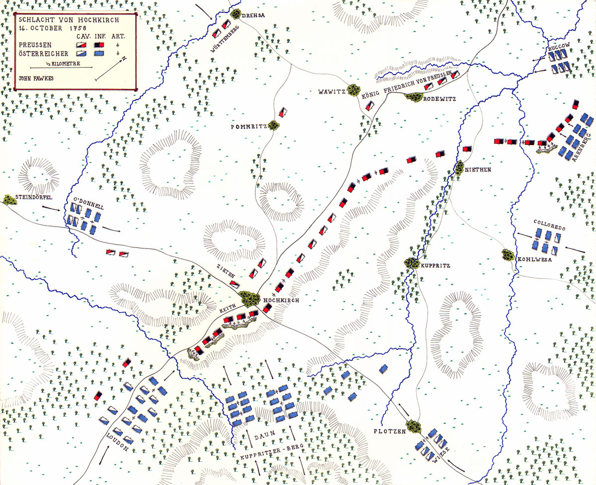 Map of the Battle of Hochkirch by John Fawkes