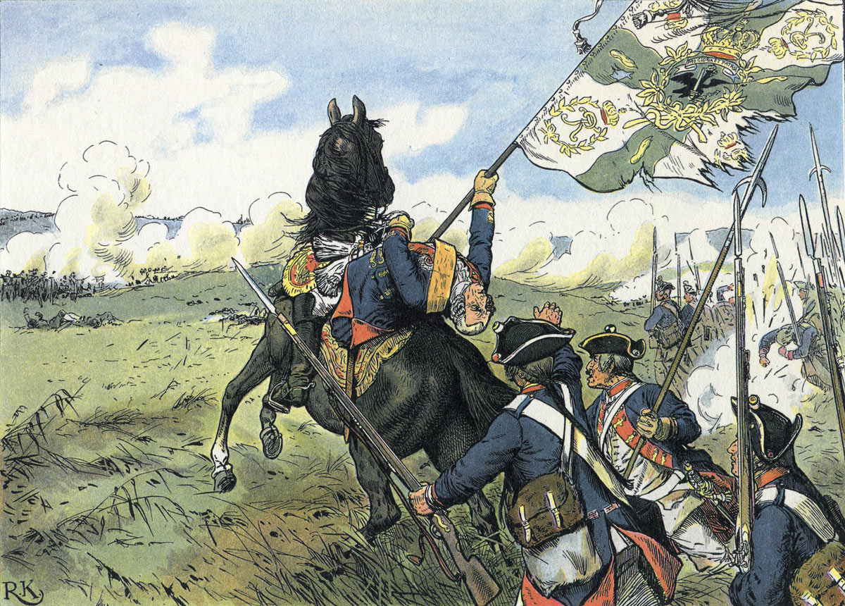 Field Marshal Schwerin killed while leading his own regiment into the attack at the Battle of Prague 6th May 1757 , after seizing the regimental colours: picture by Richard Knötel: click here to buy this picture