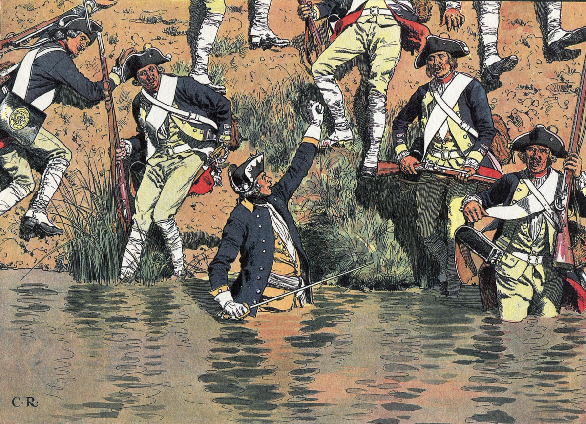 The regiment of Itzenplitz crossing the Roketnitz-Bach at the Battle of Prague 6th May 1757, led by Prince Henry: picture by Carl Röhling: click here to buy this picture