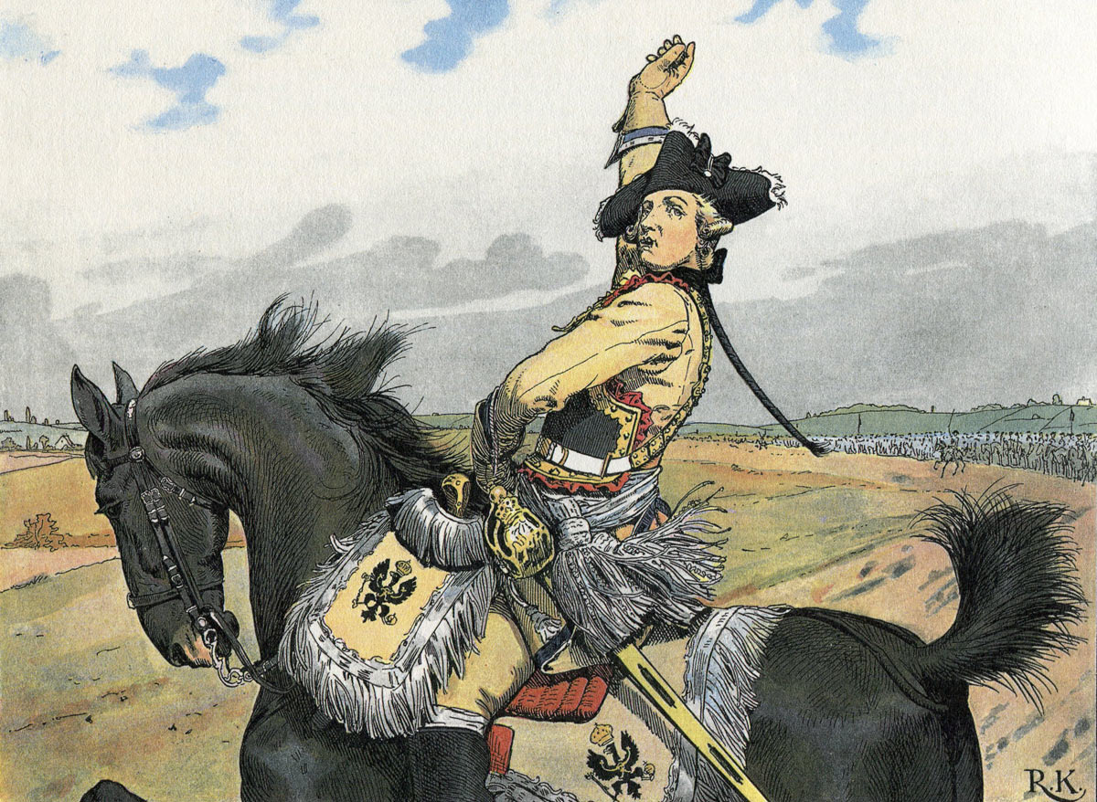 Major General von Seydlitz throws his pipe in the air as he leads his Prussian cavalry to the attack at the Battle of Rossbach on 5th November 1757: picture by Richard Knötel: click here to buy this picture