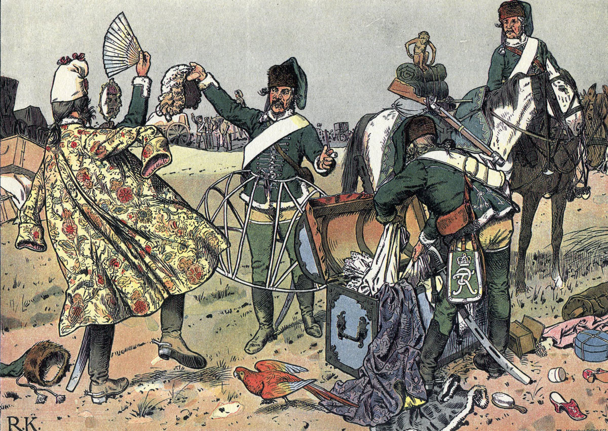 Prussian Hussars looting the French baggage at Gotha before the Battle of Rossbach 5th November 1757: picture by Richard Knötel: click here to buy this picture