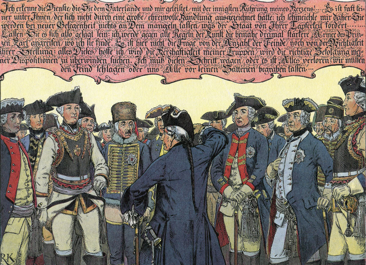 The Parchwitz Address by Frederick the Great to his generals before the march to the Battle of Leuthen 5th December 1757 in the Seven Years War: picture by Richard Knötel: click here to buy this picture