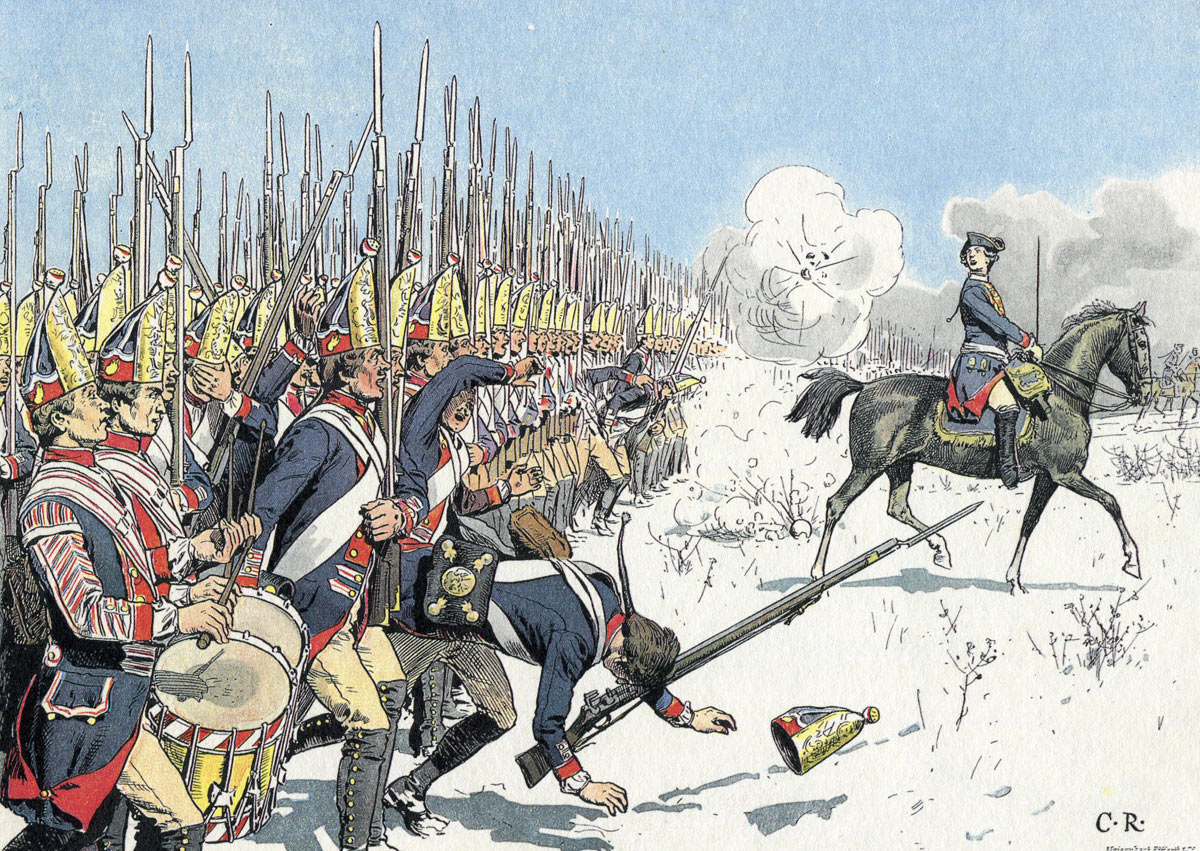 The Prussian attack at the Battle of Leuthen 5th December 1757 in the Seven Years War: picture by Carl Röhling: click here to buy this picture