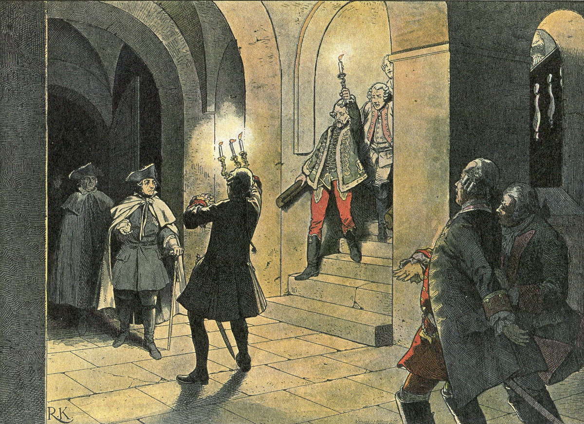 Frederick the Great arriving at the Schloss von Lissa after the Battle of Leuthen 5th December 1757 in the Seven Years War: picture by Richard Knötel: click here to buy this picture