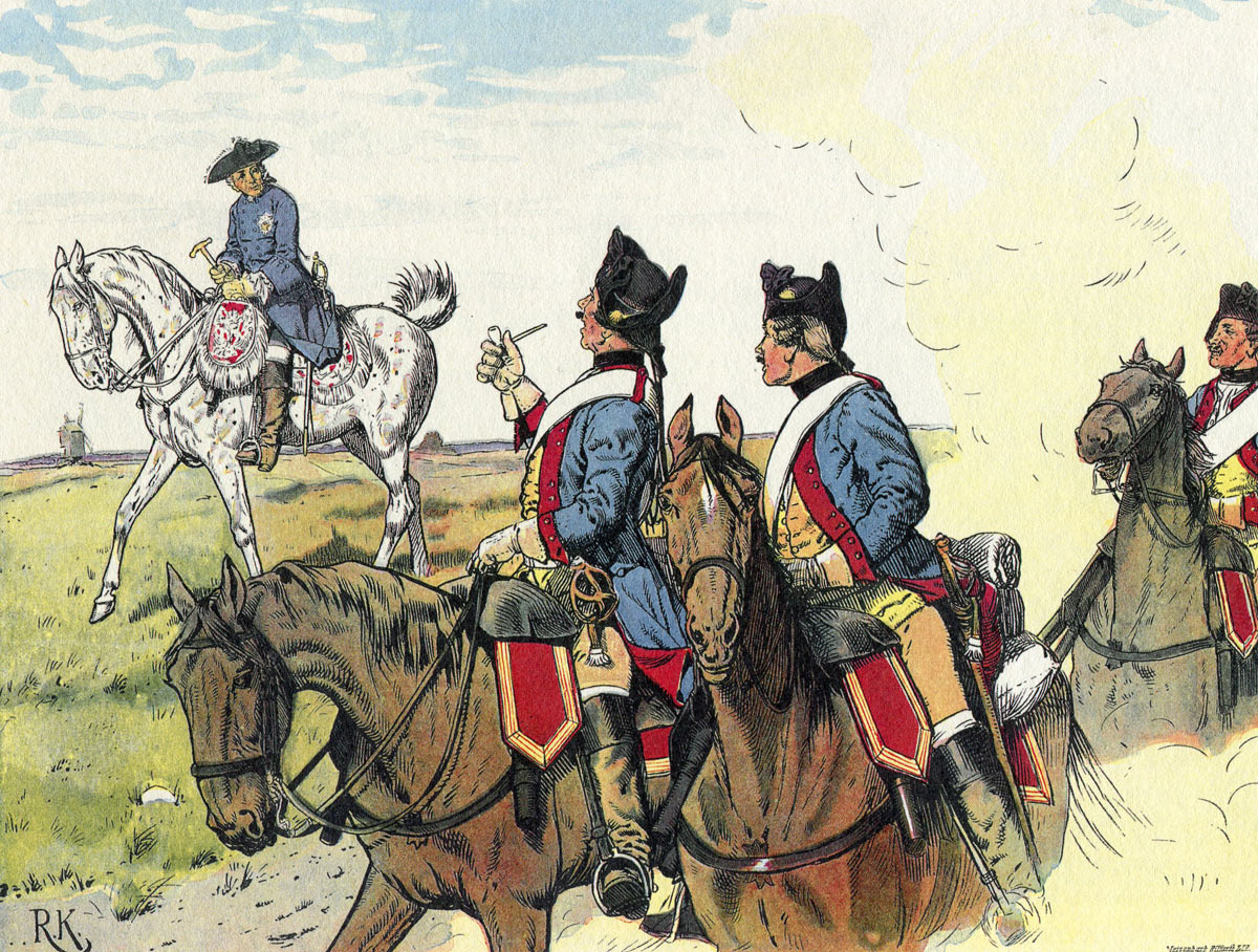 Frederick the Great greeted by Prussian Dragoons on the march: Battle of Liegnitz 15th August 1760 in the Seven Years War: picture by Richard Knötel: click here to buy this picture