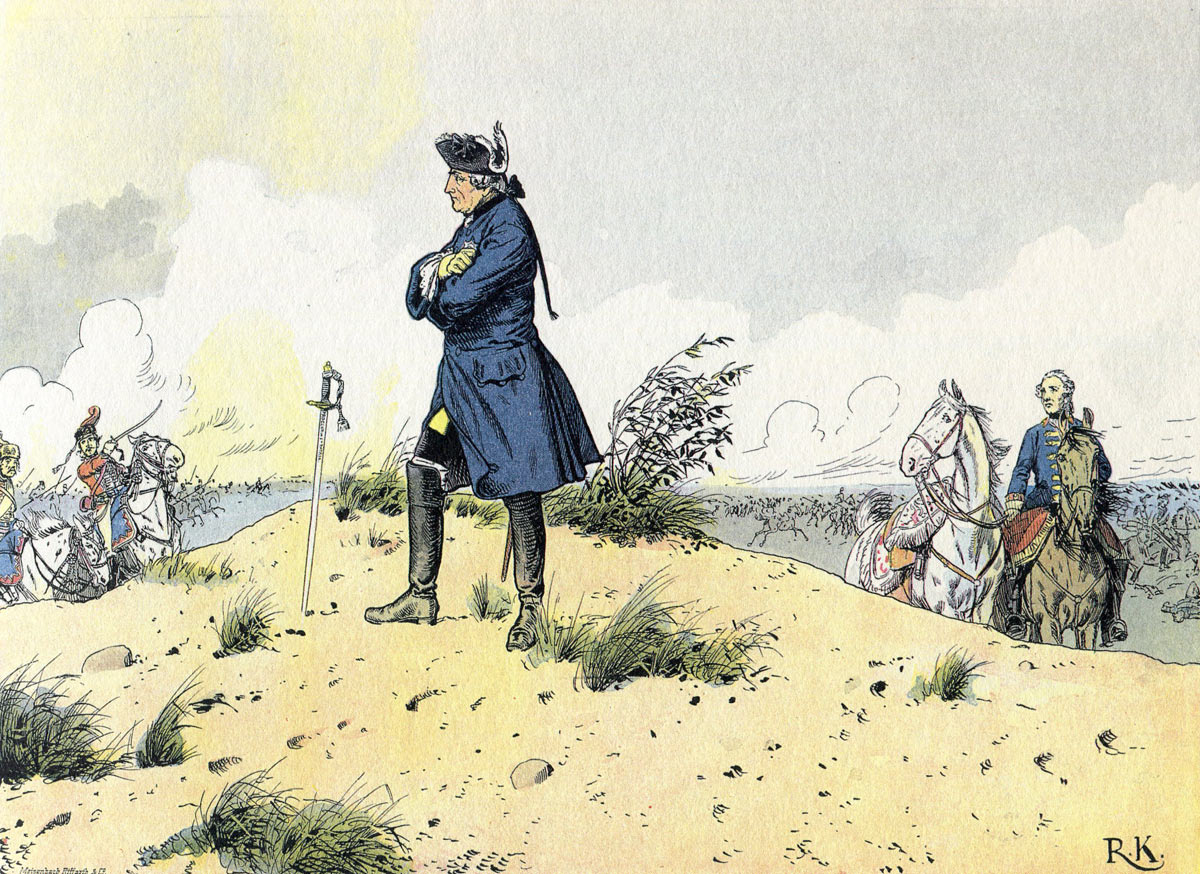 Frederick the Great at the Battle of Kunersdorf 12th August 1759 in the Seven Years War: picture by Richard Knötel: click here to buy this picture
