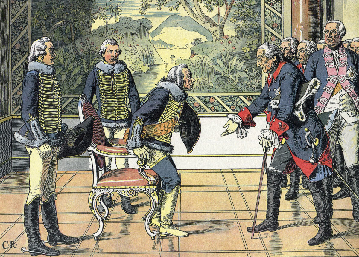 Frederick the Great greets General Zieten at Sans Souci after the Seven Years War: picture by Carl Röhling. Click here or image to buy a print