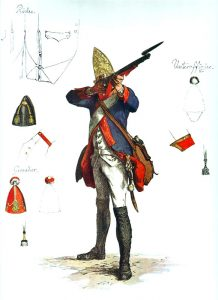 Prussian Füsilier-Regiment Markgraf Heinrich No 42: picture by Adolph Menzel as part of his series of pictures 'Die Armee Friedrichs des Grossen in ihrer Uniformierung'.