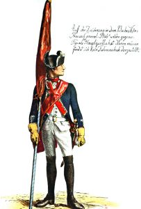 Prussian Infantry Regiment von Winterfeldt No 1 (the regiment lost 22 officers and 1,168 men in the battle): picture by Adolph Menzel as part of his series of pictures 'Die Armee Friedrichs des Grossen in ihrer Uniformierung'.