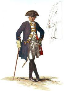Prussian Infantry Regiment von Manteuffel No 17: picture by Adolph Menzel as part of his series of pictures 'Die Armee Friedrichs des Grossen in ihrer Uniformierung'