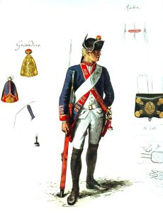 Prussian Infantry Regiment Von Schwerin No 24 (the regiment lost 13 officers and 522 men in the battle) : picture by Adolph Menzel as part of his series of pictures 'Die Armee Friedrichs des Grossen in ihrer Uniformierung'