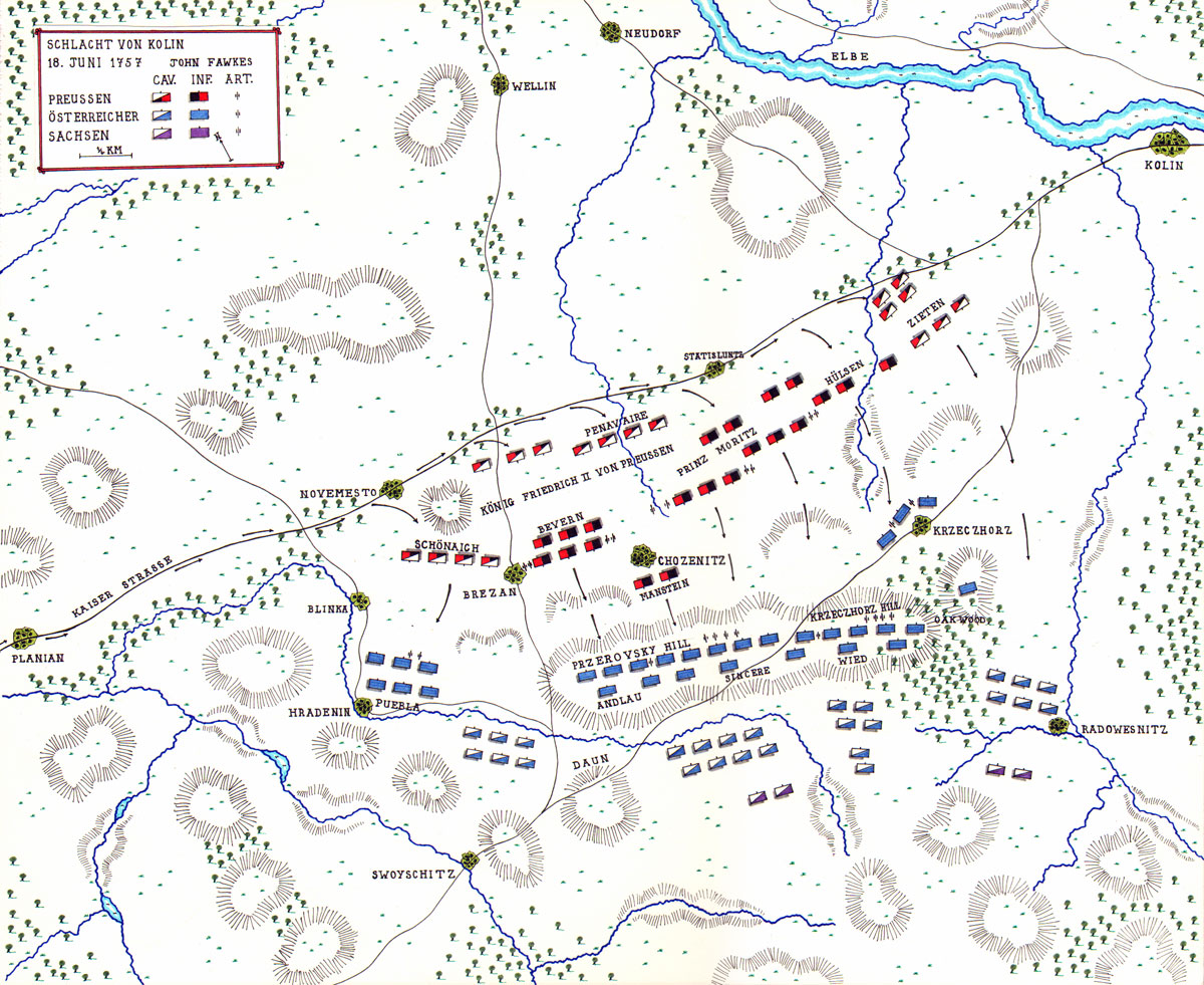 Map of the Battle of Kolin by John Fawkes