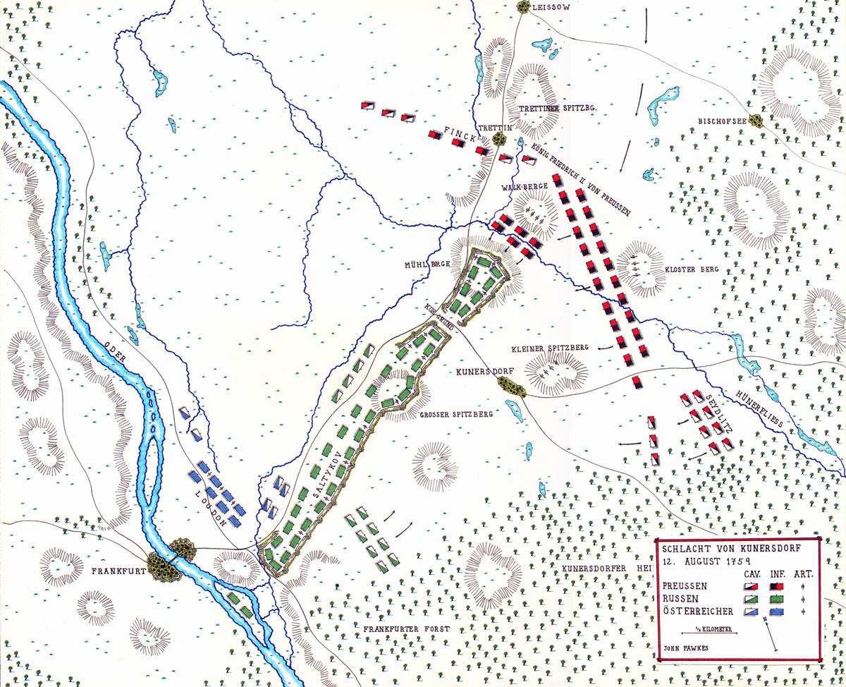 Map of the Battle of Kunersdorf